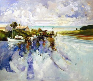 Ken Strong, Tilghman Island Fleet Entry to Chesapeake Bay MD, 48X43, Oil on canvas