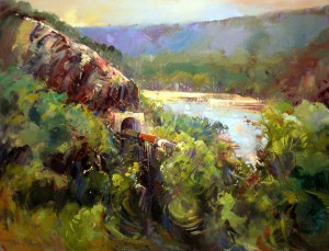 Ken Strong, Tunnel and Train, 35.5X27.5, Oil on canvas