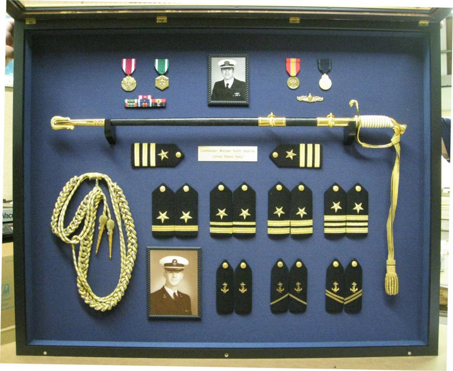 Custom Shadowbox Framing of US Navy Decorations