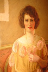 painting of a lady with necklace