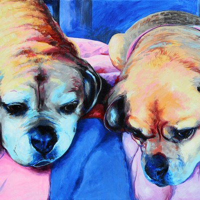 Jason Good - Puggles and PJ, Commissioned Pet Portrait, Acrylic on Canvas
