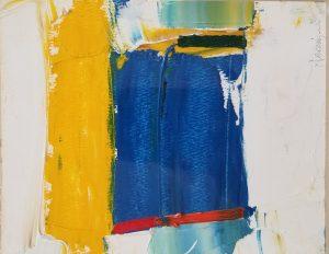 "Buck Nelligan, ""Blue"", Acrylic on Paper, 7"" x 5.5"""