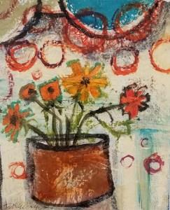 "Buck Nelligan, ""Happy Marigolds"", Acrylic on Paper, 6"" x 5"""