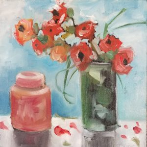 """Buck Nelligan, """"Red Canister and Roses"""", 10"""" x 10"""", Acrylic on Canvas"""