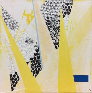 "Natalie Jackson, ""A Working Hive"", 8"" x 8"", Acrylic on Canvas"