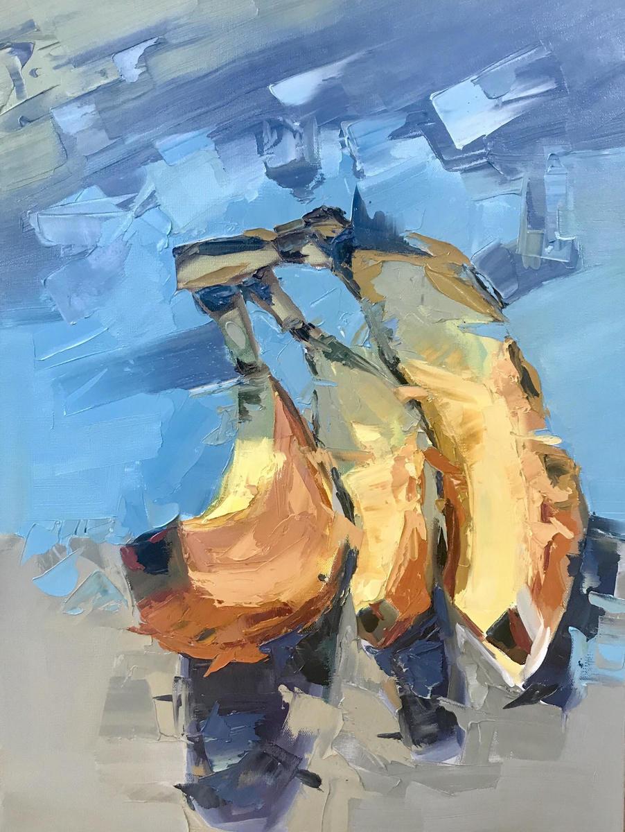 """Three Bananas"", Oil on Canvas, 24"" x 18"""