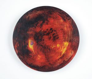 """""""Portal #9"""", Acrylic and Wax on Etched 1/8""""Aluminum, 7"""" Diameter"""