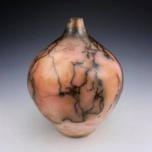 """Saggar and Horsehair Fired Vase, 10""""h x 8""""w, Tag #15"""