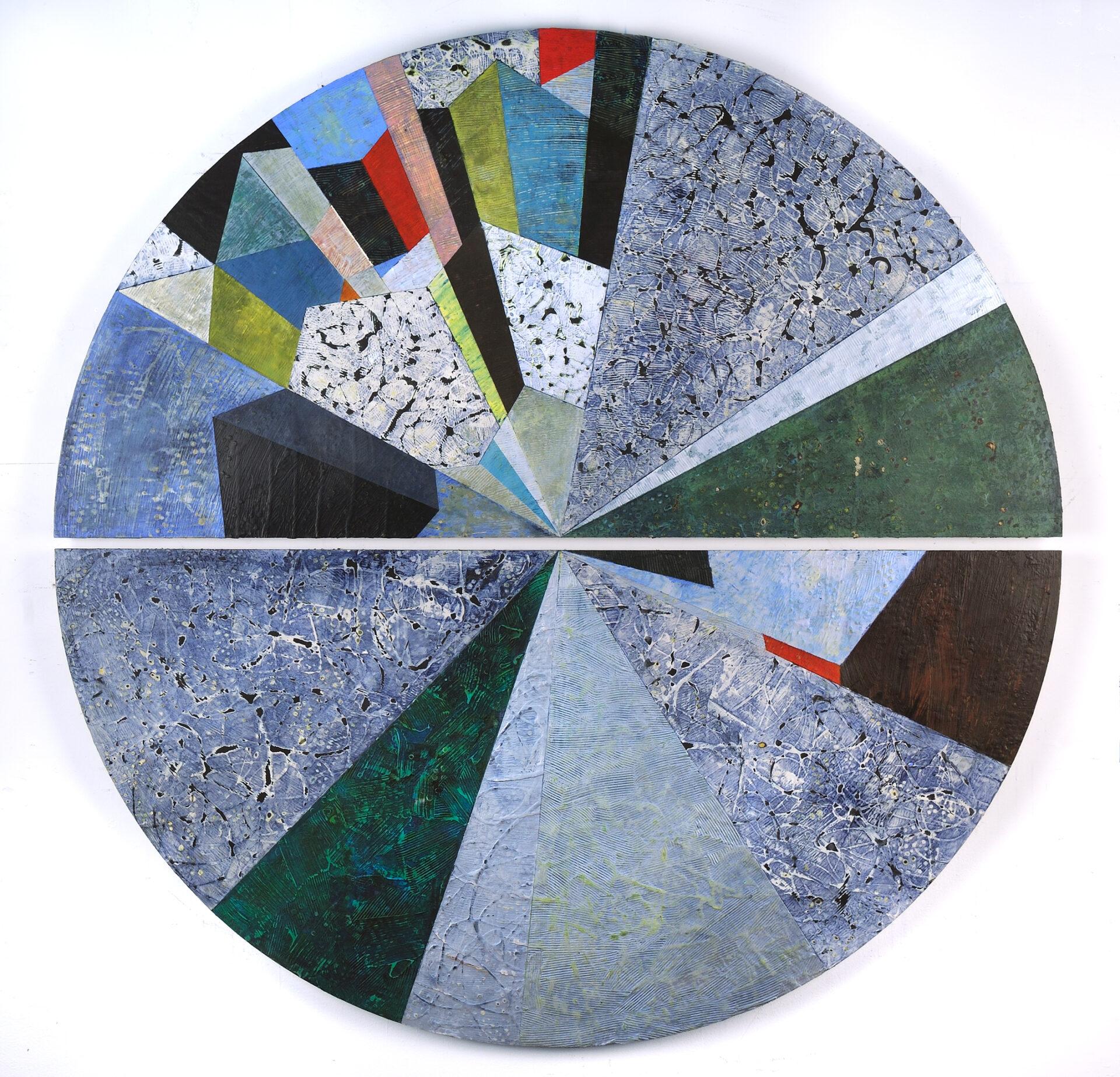 """Unfolding #3"", Mixed Media on Honeycomb Aluminum, 60"" Diameter"