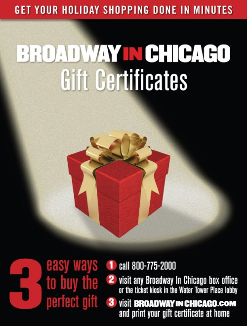 Broadway In Chicago Gift Certificates The Perfect Present
