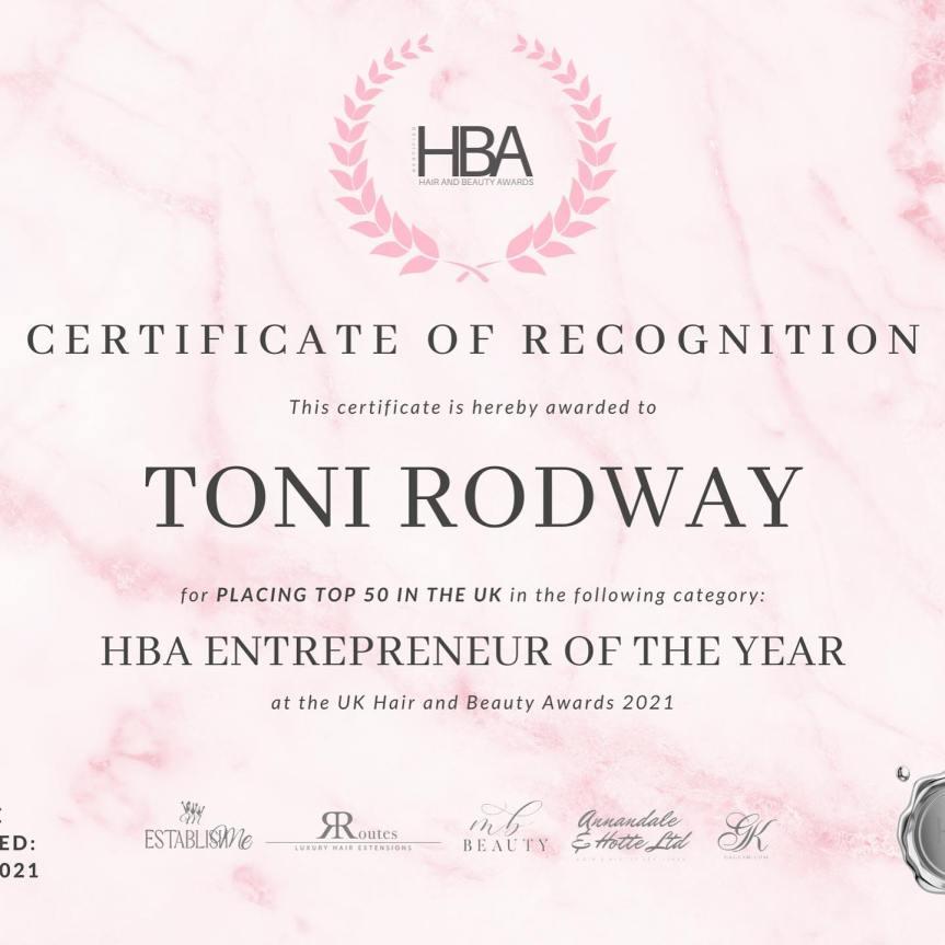 Toni Rodway At The Painted Nail Achieves Top 50 Award