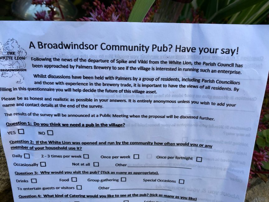 Last Call For Pub Questionnaires – 6pm Saturday 17th July