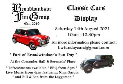 Classic Cars Display at Broadwindsor's Fun Day