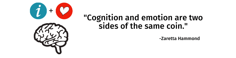 "The human brain with ""i + a heart"" placed above it and the quote ""Cognition and emotion are two sides of the same coin."" Zaretta Hammond"