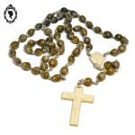 1 Chapelet rosaire perles de noyaux gris marron glacé