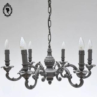 Magnifique lustre bronze patiné gris beige baroque volutes ⋆ Brocante Chic