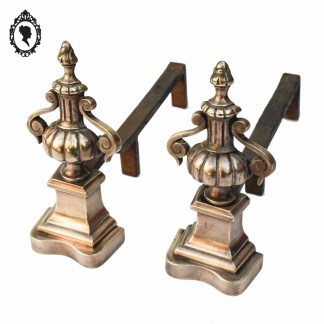 Paire de chenet laiton bronze cuivré ancien accessoire de cheminée ⋆ Brocante Chic
