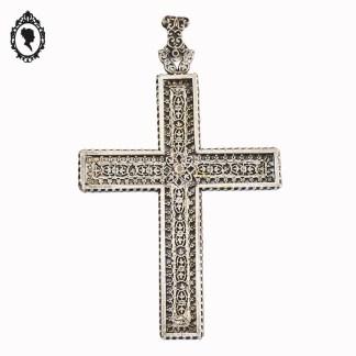 Croix, croix pendentif, grande croix, croix grise, croix vintage, objet religieux, objet religieux ancien, croix métal, croix métal gris, ornementation métal gris, ornementation, grande croix à porter, grande croix pendentif, crois ajourée, croix ciselée, croix argentée, bijoux vintage, bijou religieux, bijou croix, grande croix bijou,