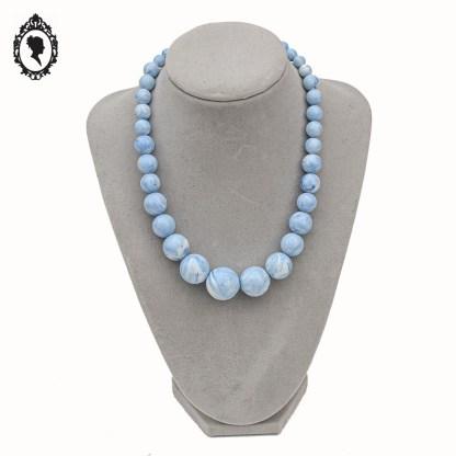 Collier, collier bleu, collier blanc, collier bleu blanc, collier marbré, collier vintage, collier perles, collier perles rondes, collier cascade, ras de cou, ras ce cou, ras de cou bleu blanc, ras de cou cascade, bleu, collier court, collier ras de cou,