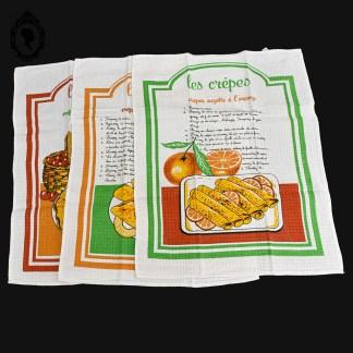 Linge vintage, torchon, torchon vintage, torchon coton, torchon coton vintage, torchon recette, torchon recette vintage, torchon coloré, torchon coloré vintage, torchon vif, torchon coloré, torchon jaune, torchon orange, torchon vert, gaufrex, torchon gaufrex, gaufrex vintage, recette crêpes, crêpes, accessoire cuisine vintage, cuisine vintage, décoration cuisine vintage,