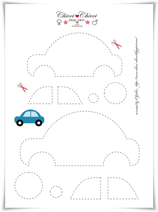 Plantilla de coche para manualidades infantiles en fieltro
