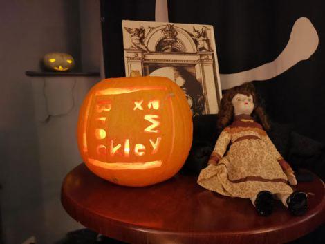 Brockley Max pumpkin carving at Frightful Yarns fundraiser