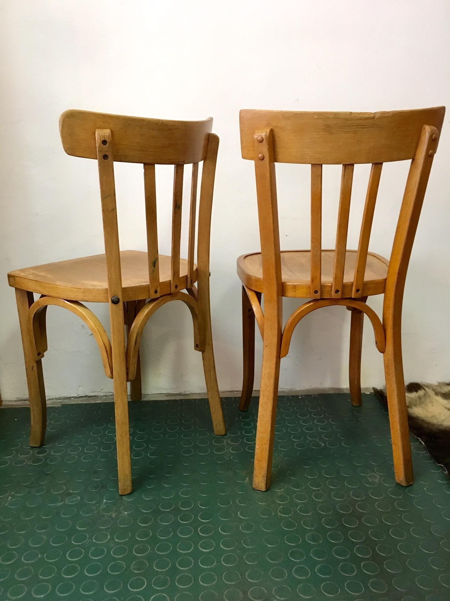 2 chaises bistrot vintage baumann et