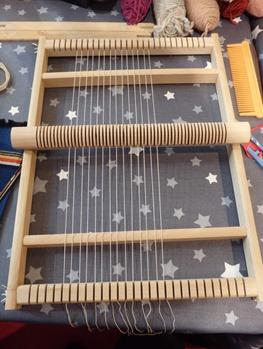 tissage installation des fils de chaine