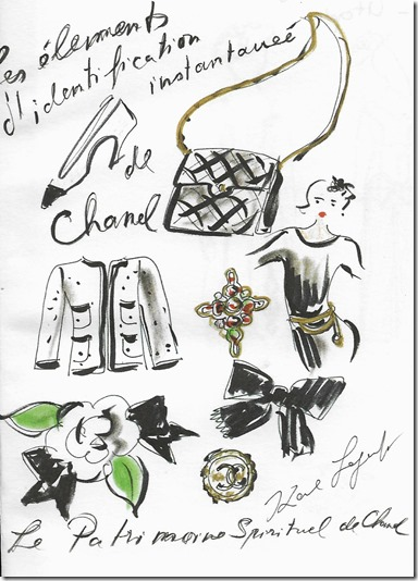 Aquarelle Patrimoine spirituel de Chanel par Karl Lagerfeld