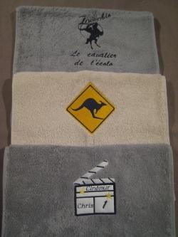 essuis mains kangourou, zorro, clap cinéma en appliqué