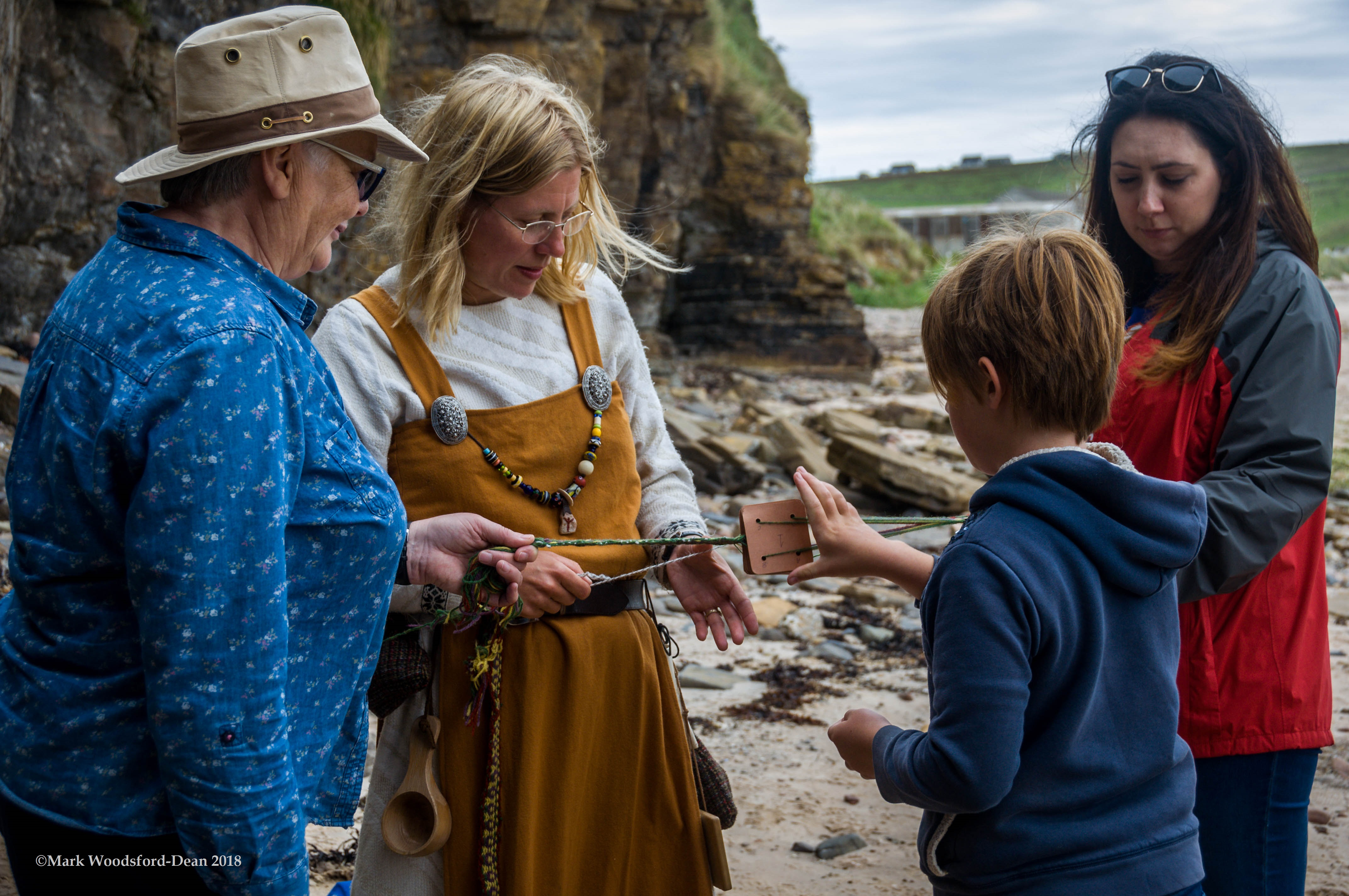 Viking Feast on the Beach Orkney tablet weaving