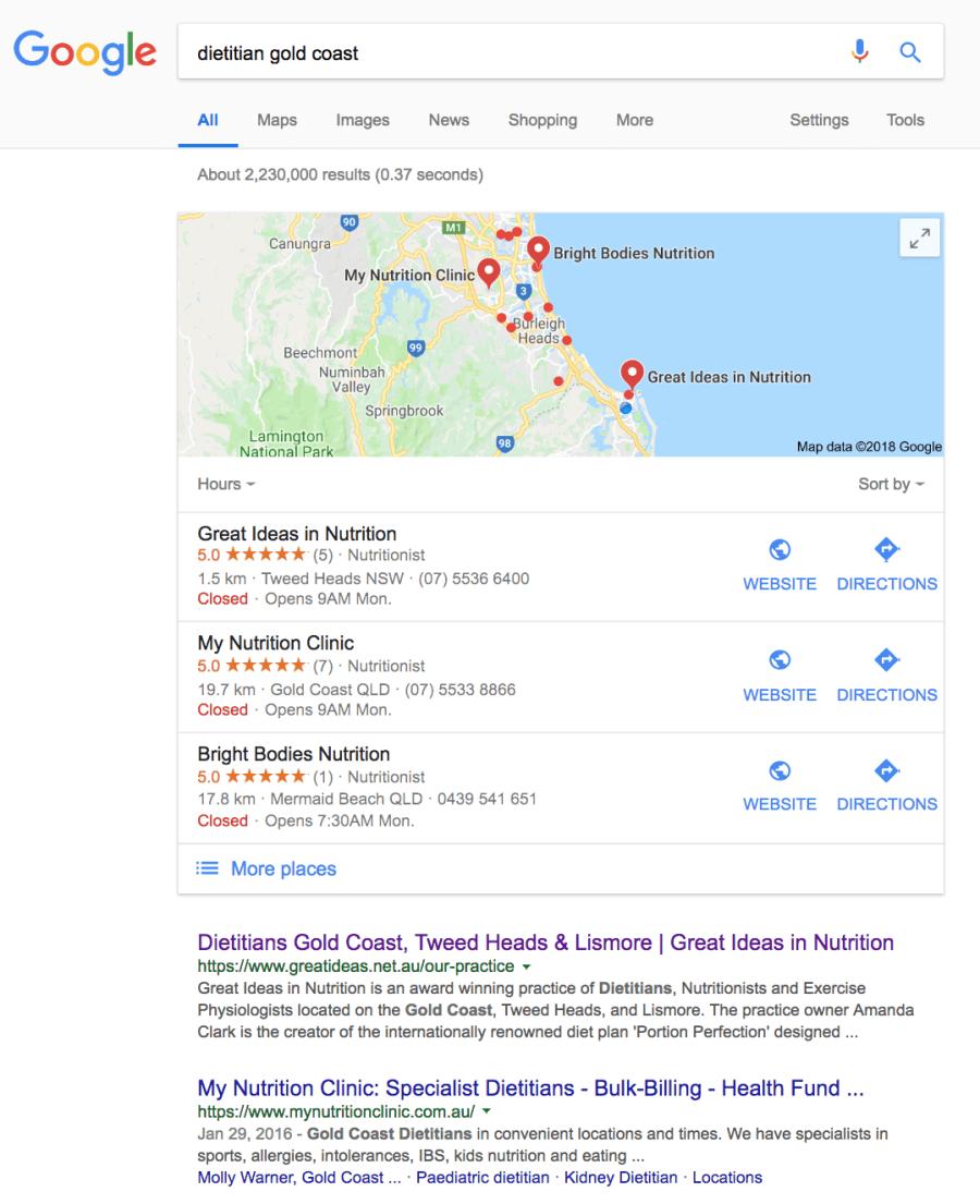 dietitian gold coast search term