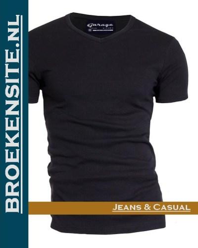 Garage T-shirt Semi Bodyfit V-hals zwart G 0302-ZW Broekensite jeans casual