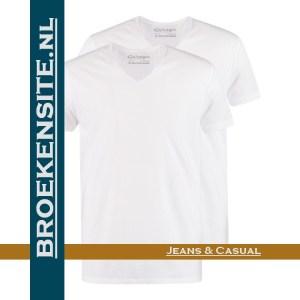 Garage T-Shirt Regular Fit V-hals (2-pack) wit G 0104-WT Broekensite jeans casual