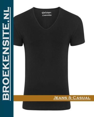 Garage T-shirt Bodyfit diepe -Vhals zwart G 0206-ZW Broekensite jeans casual