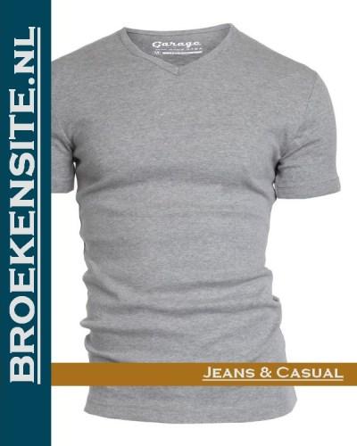 Garage T-shirt Semi Bodyfit V-hals grijs G 0302 -GR Broekensite jeans casual
