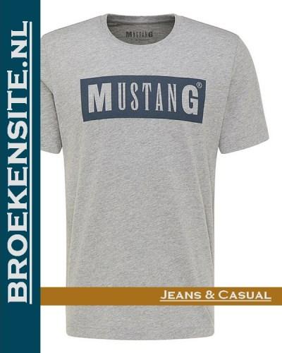 Mustang Alex C logo Tee t-shirt met logo shirt 101037 4140 Broekensite