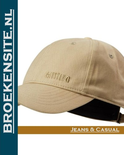 Cap dark vanilla cream Caps Mustang petten pet baseballcap Broekensite.nl jeans casual Broekensite
