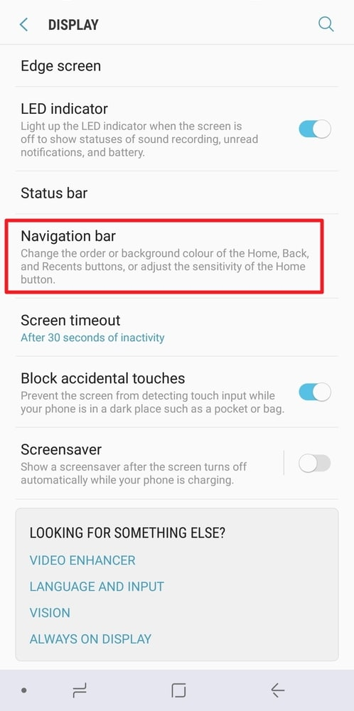 Navigation Bar Color In Galaxy Note 8
