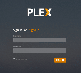 Log in to Plex Media Server