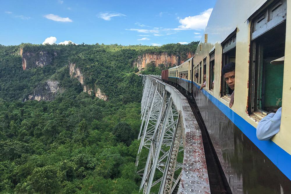 Crossing Gokteik Railway Viaduct, Myanmar