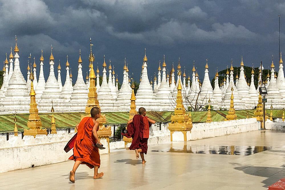 Sandamuni Pagoda Mandalay Monk Myanmar Burma