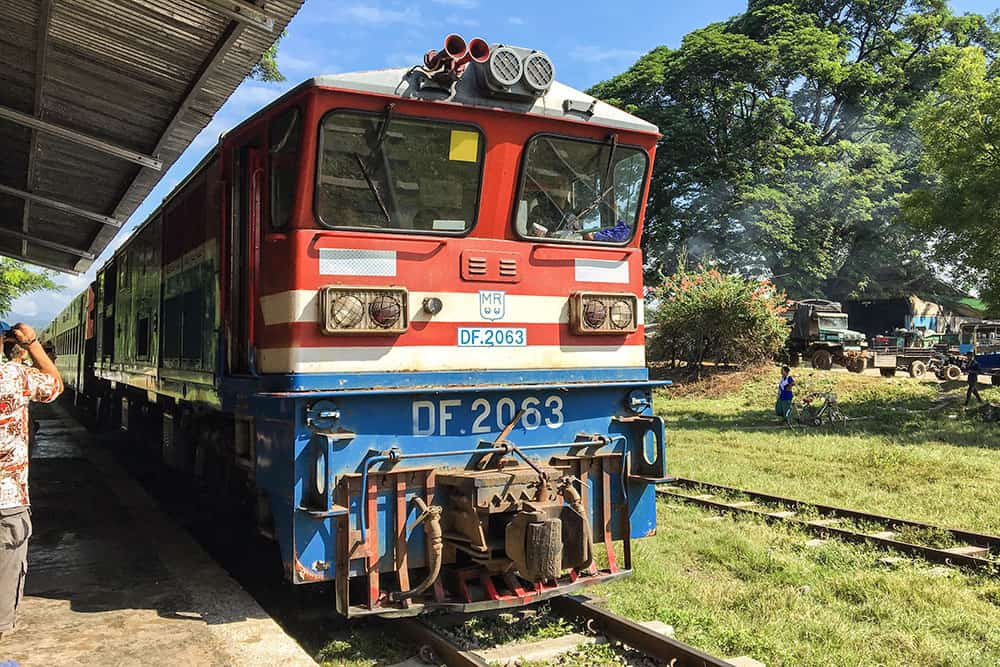 Train approaching Hsipaw Station, Myanmar