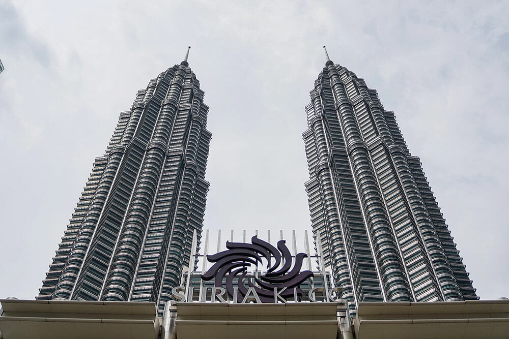 Looking up to the Petronas Twin Towers