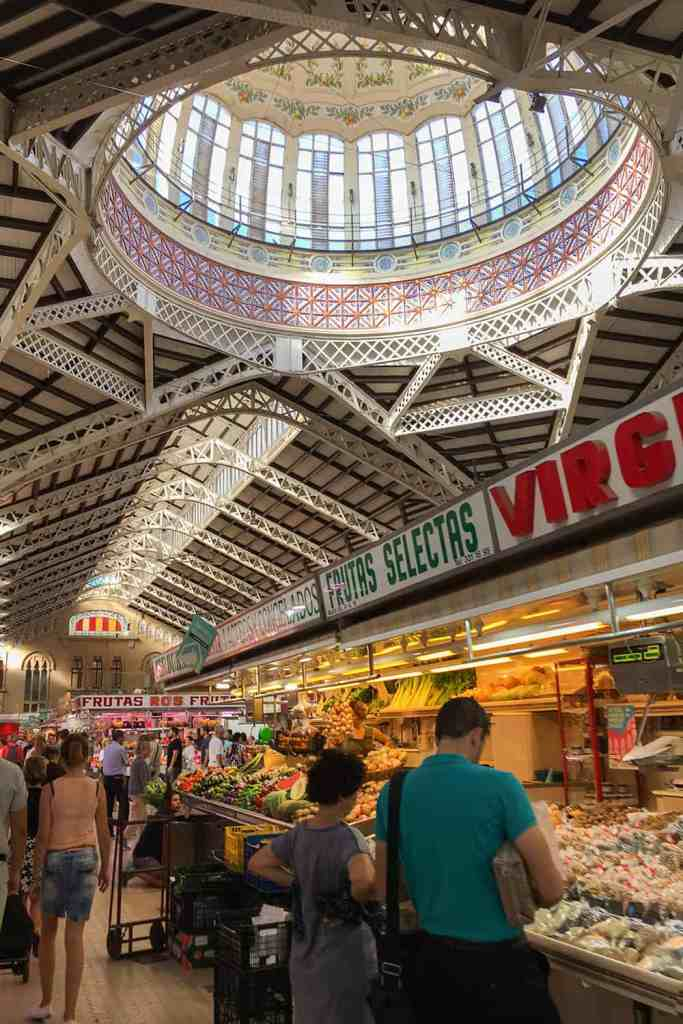 Fruit and vegetable stalls in Valencia Central Market