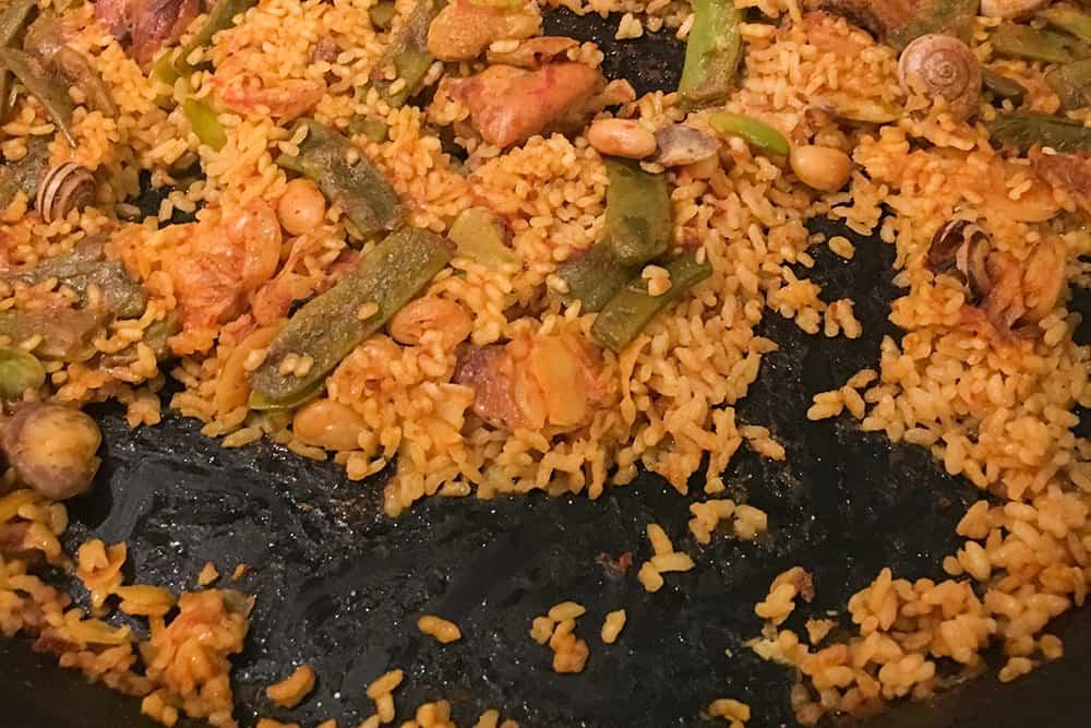 Half eaten paella