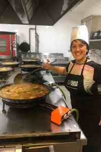 Cooking paella in the kitchen