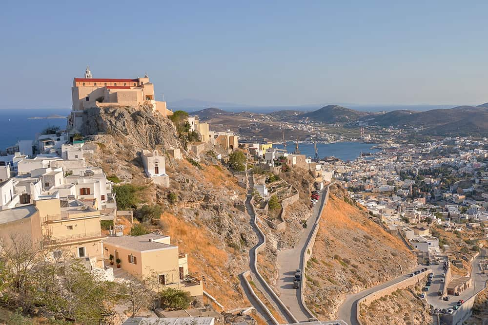 View of ano syros greece