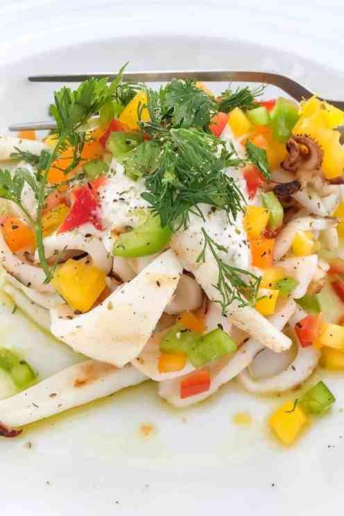 Squid salad, gyros greece