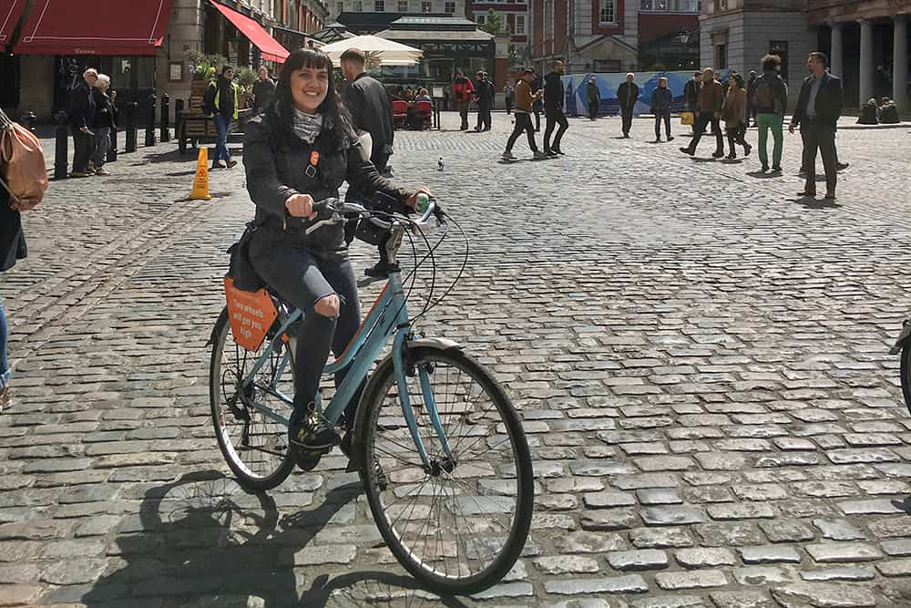 On a bike on cobbled roads in Covent Garden London